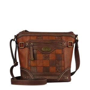 b.ø.c. Patchwork Crossbody Brown Bag